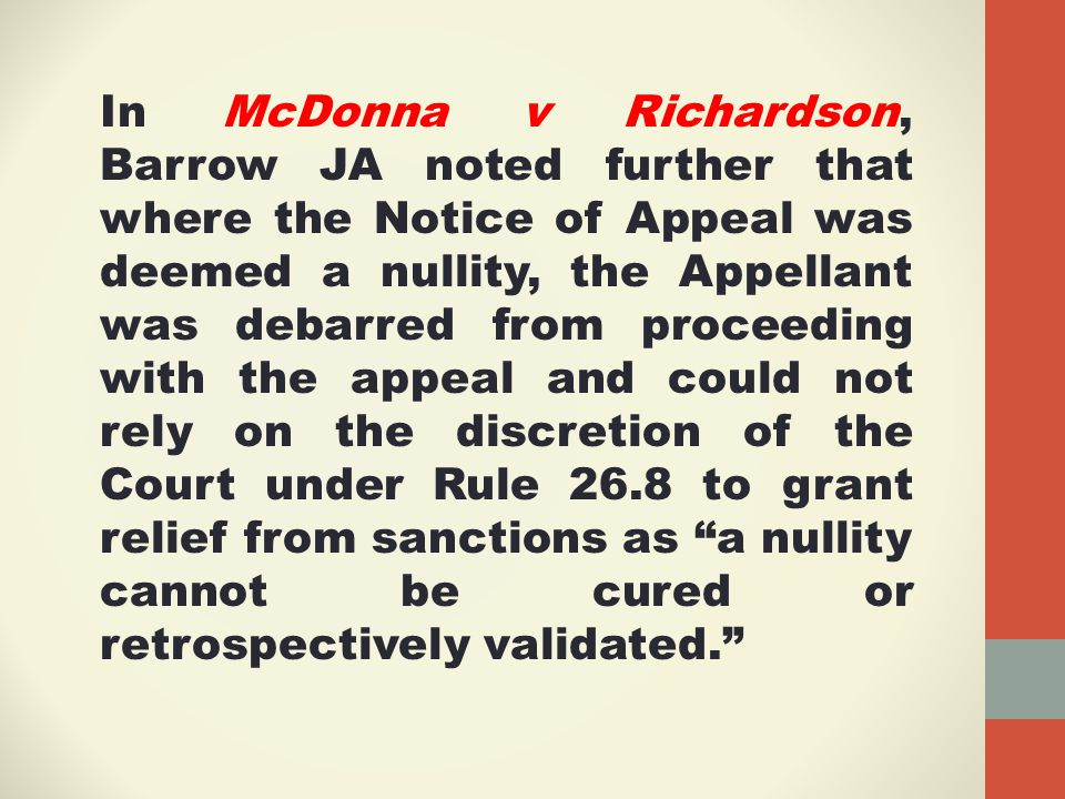 Leave to Appeal The following cases are also useful:  Nevis Island Administration v La Copproprete du Navire J31 (St.