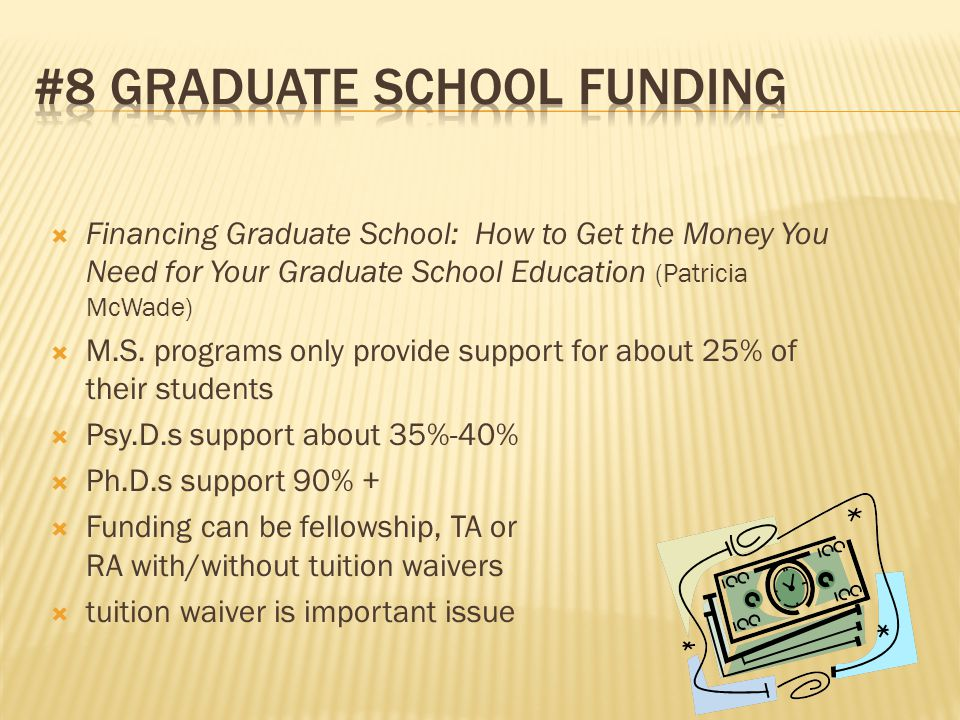  Financing Graduate School: How to Get the Money You Need for Your Graduate School Education (Patricia McWade)  M.S.