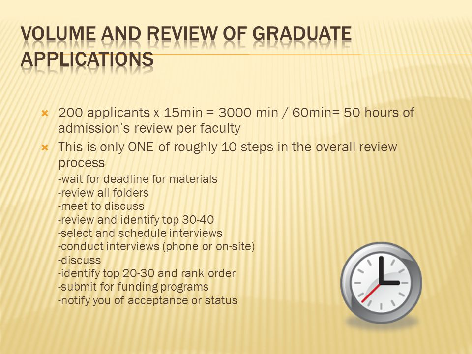  200 applicants x 15min = 3000 min / 60min= 50 hours of admission's review per faculty  This is only ONE of roughly 10 steps in the overall review process - wait for deadline for materials -review all folders -meet to discuss -review and identify top select and schedule interviews -conduct interviews (phone or on-site) -discuss -identify top and rank order -submit for funding programs -notify you of acceptance or status