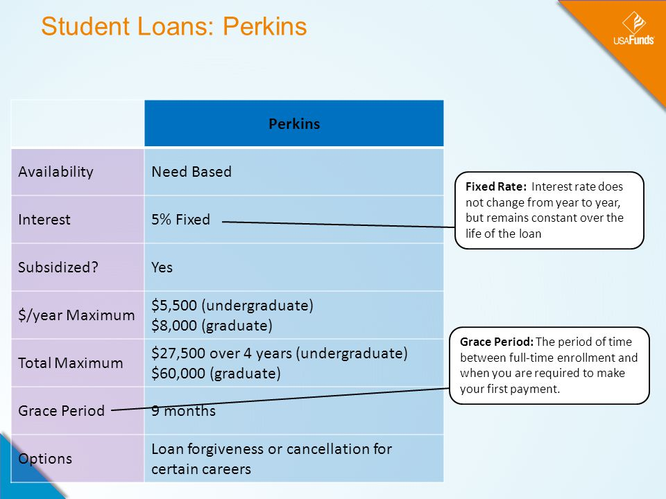 Student Loans: Perkins Perkins AvailabilityNeed Based Interest5% Fixed Subsidized?Yes $/year Maximum $5,500 (undergraduate) $8,000 (graduate) Total Maximum $27,500 over 4 years (undergraduate) $60,000 (graduate) Grace Period9 months Options Loan forgiveness or cancellation for certain careers Fixed Rate: Interest rate does not change from year to year, but remains constant over the life of the loan Grace Period: The period of time between full-time enrollment and when you are required to make your first payment.