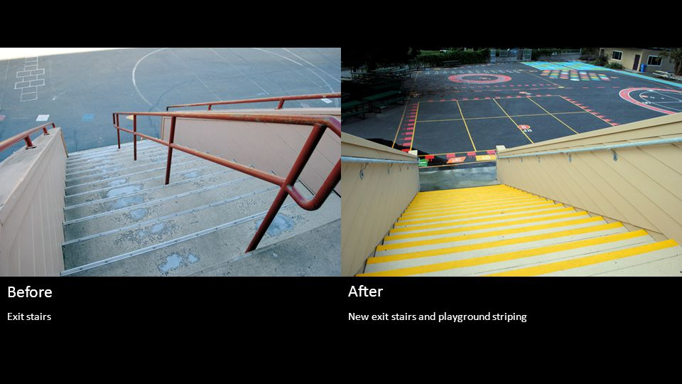 New exit stairs and playground striping Before After Exit stairs