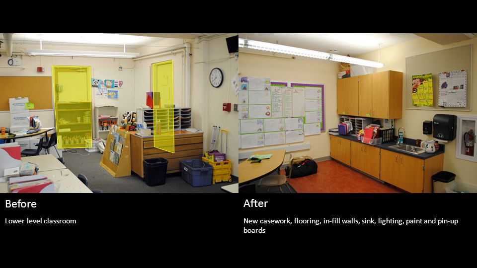 New casework, flooring, in-fill walls, sink, lighting, paint and pin-up boards Before After Lower level classroom