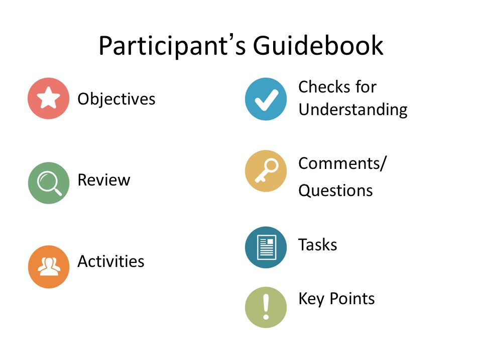Participant's Guidebook Objectives Review Activities Checks for Understanding Comments/ Questions Tasks Key Points