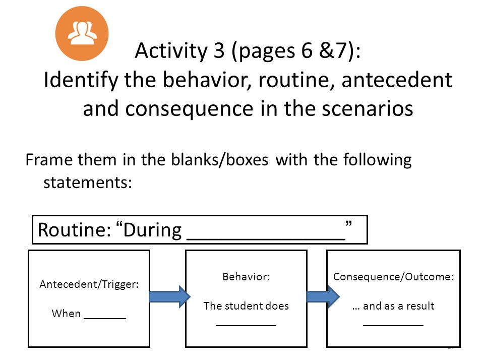 """Routine: """"During _______________"""" Activity 3 (pages 6 &7): Identify the behavior, routine, antecedent and consequence in the scenarios Frame them in t"""