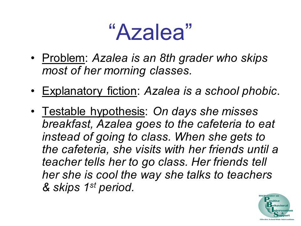Azalea Problem: Azalea is an 8th grader who skips most of her morning classes.