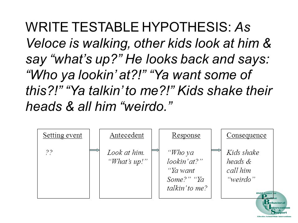 Setting eventAntecedentResponseConsequence WRITE TESTABLE HYPOTHESIS: As Veloce is walking, other kids look at him & say what's up? He looks back and says: Who ya lookin' at?! Ya want some of this?! Ya talkin' to me?! Kids shake their heads & all him weirdo. ??Look at him.