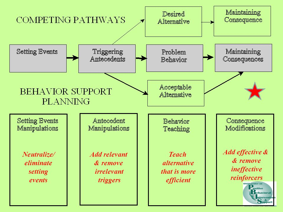 Neutralize/ eliminate setting events Add relevant & remove irrelevant triggers Teach alternative that is more efficient Add effective & & remove ineffective reinforcers
