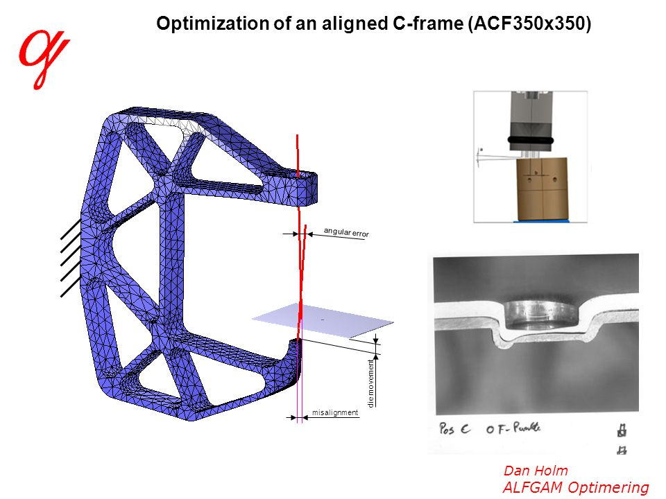 Dan Holm ALFGAM Optimering Optimization of an aligned C-frame (ACF350x350) misalignment die movement angular error