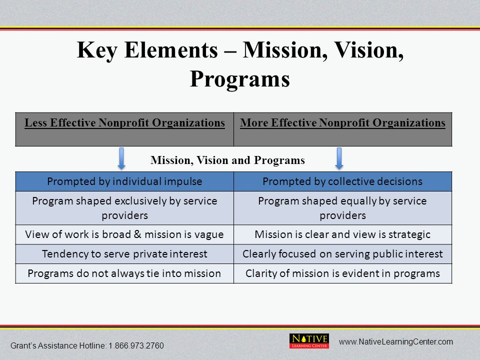 Grant's Assistance Hotline: 1.866.973.2760 www.NativeLearningCenter.com Key Elements – Mission, Vision, Programs Less Effective Nonprofit Organization
