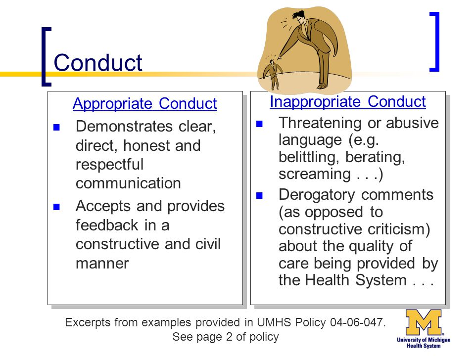 Conduct Appropriate Conduct Demonstrates clear, direct, honest and respectful communication Accepts and provides feedback in a constructive and civil manner Appropriate Conduct Demonstrates clear, direct, honest and respectful communication Accepts and provides feedback in a constructive and civil manner Inappropriate Conduct Threatening or abusive language (e.g.
