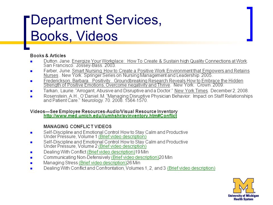 Department Services, Books, Videos Books & Articles Dutton, Jane. Energize Your Workplace: How To Create & Sustain high Quality Connections at Work. S