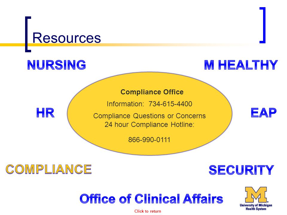 Resources Compliance Office Information: 734-615-4400 Compliance Questions or Concerns 24 hour Compliance Hotline: 866-990-0111 Click to return