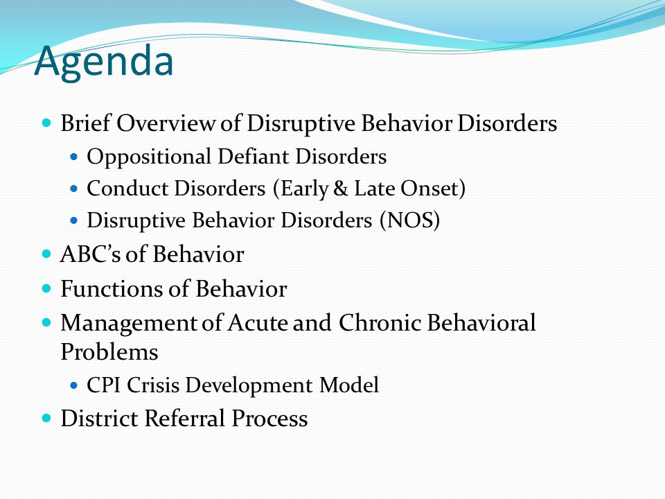 What is a Disruptive Behavior Disorder.
