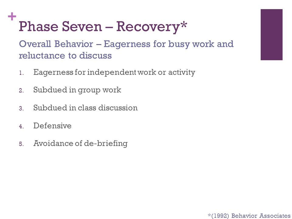 + Phase Seven – Recovery* 1. Eagerness for independent work or activity 2. Subdued in group work 3. Subdued in class discussion 4. Defensive 5. Avoida
