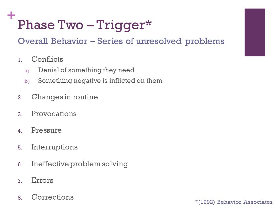 + Phase Two – Trigger* 1. Conflicts a) Denial of something they need b) Something negative is inflicted on them 2. Changes in routine 3. Provocations