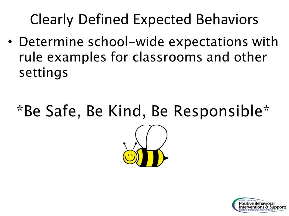 Clearly Defined Expected Behaviors Determine school-wide expectations with rule examples for classrooms and other settings *Be Safe, Be Kind, Be Respo