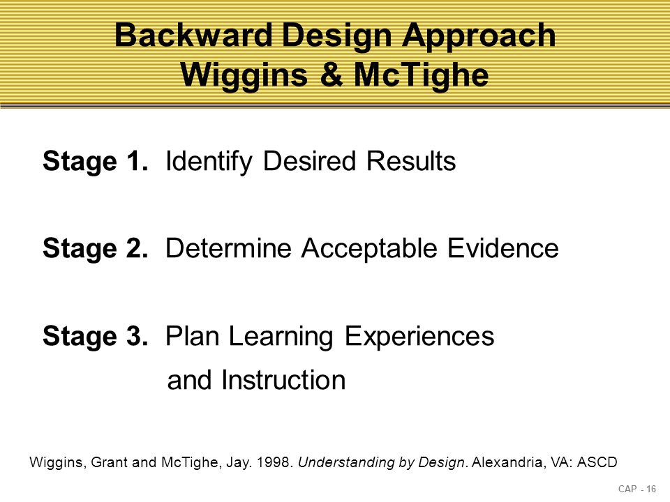 CAP - 16 Backward Design Approach Wiggins & McTighe Stage 1.