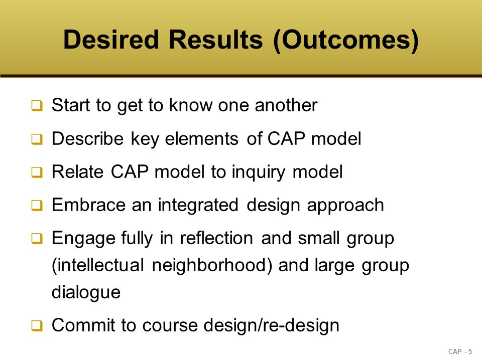 CAP - 5 Desired Results (Outcomes)  Start to get to know one another  Describe key elements of CAP model  Relate CAP model to inquiry model  Embrace an integrated design approach  Engage fully in reflection and small group (intellectual neighborhood) and large group dialogue  Commit to course design/re-design