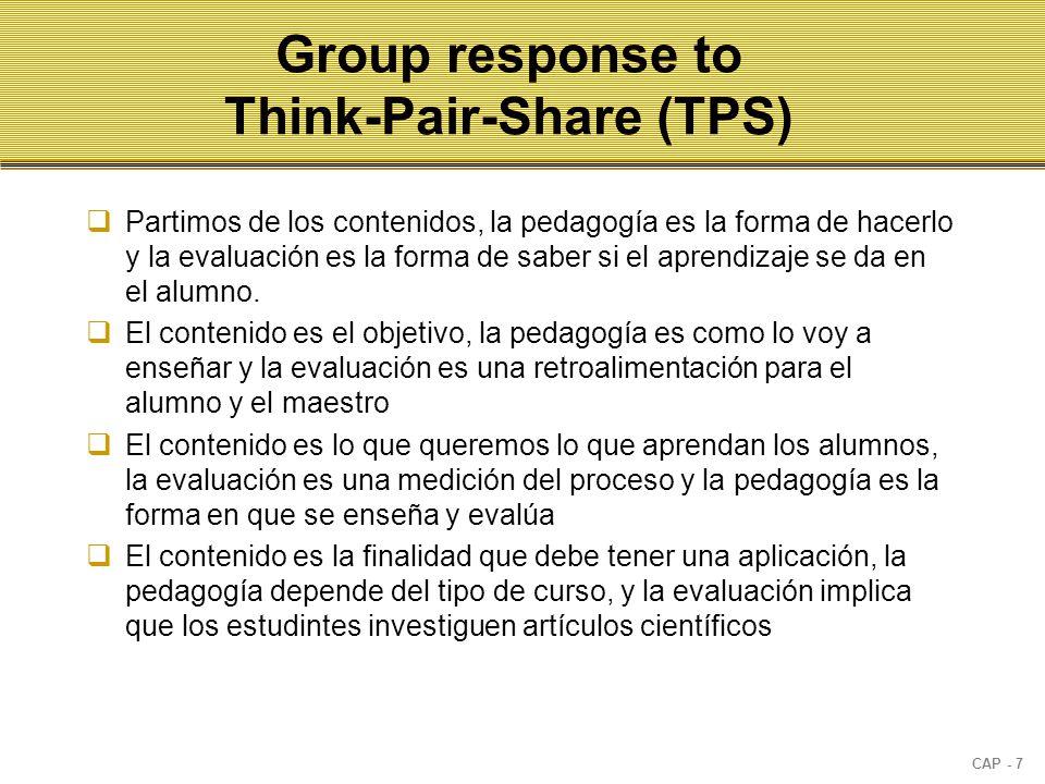 CAP - 7 Group response to Think-Pair-Share (TPS)  Partimos de los contenidos, la pedagogía es la forma de hacerlo y la evaluación es la forma de saber si el aprendizaje se da en el alumno.
