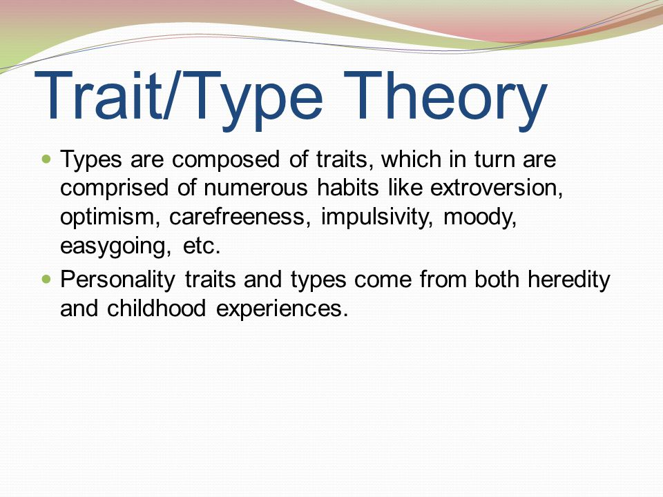 Trait/Type Theory Types are composed of traits, which in turn are comprised of numerous habits like extroversion, optimism, carefreeness, impulsivity,