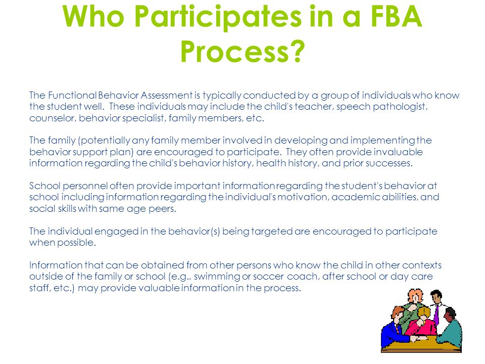 Who Participates in a FBA Process.