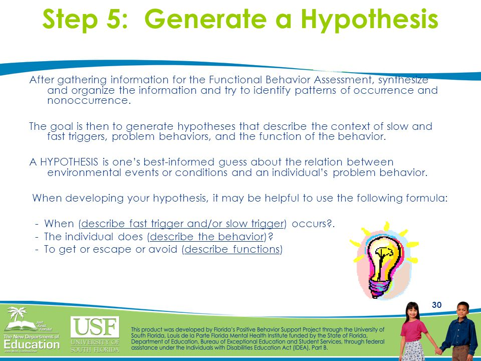 30 Step 5: Generate a Hypothesis After gathering information for the Functional Behavior Assessment, synthesize and organize the information and try to identify patterns of occurrence and nonoccurrence.