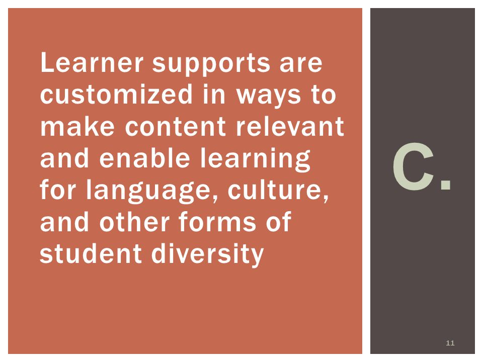Learner supports are customized in ways to make content relevant and enable learning for language, culture, and other forms of student diversity C.