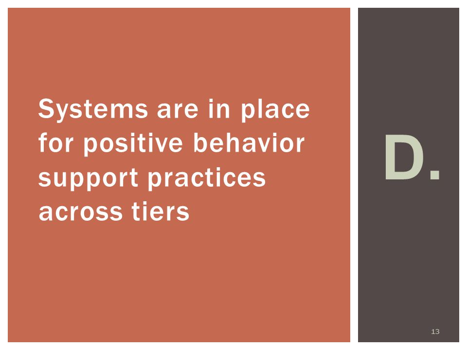 Systems are in place for positive behavior support practices across tiers D. 13
