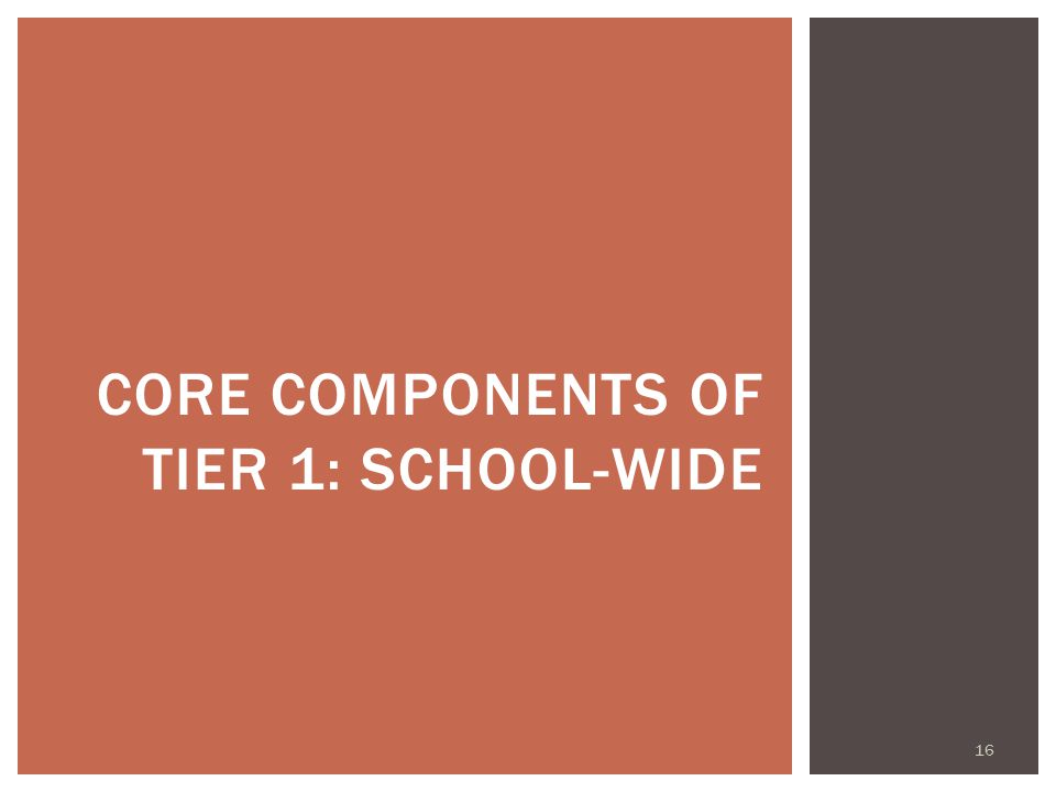 CORE COMPONENTS OF TIER 1: SCHOOL-WIDE 16