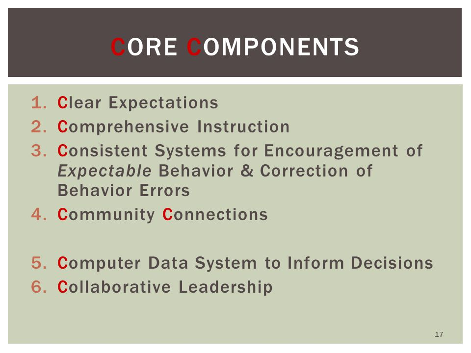 1.Clear Expectations 2.Comprehensive Instruction 3.Consistent Systems for Encouragement of Expectable Behavior & Correction of Behavior Errors 4.Community Connections 5.Computer Data System to Inform Decisions 6.Collaborative Leadership CORE COMPONENTS 17