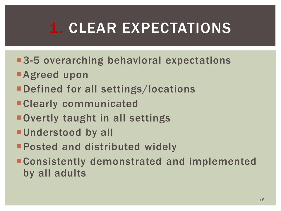  3-5 overarching behavioral expectations  Agreed upon  Defined for all settings/locations  Clearly communicated  Overtly taught in all settings  Understood by all  Posted and distributed widely  Consistently demonstrated and implemented by all adults 1.