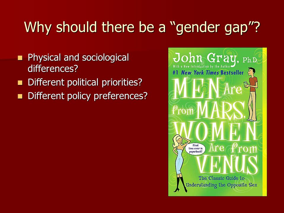 """Why should there be a """"gender gap""""? Physical and sociological differences? Physical and sociological differences? Different political priorities? Diff"""