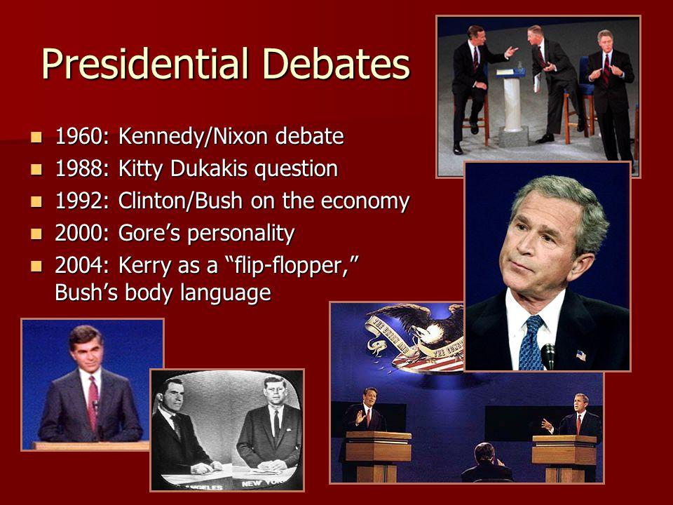 Presidential Debates 1960: Kennedy/Nixon debate 1960: Kennedy/Nixon debate 1988: Kitty Dukakis question 1988: Kitty Dukakis question 1992: Clinton/Bus