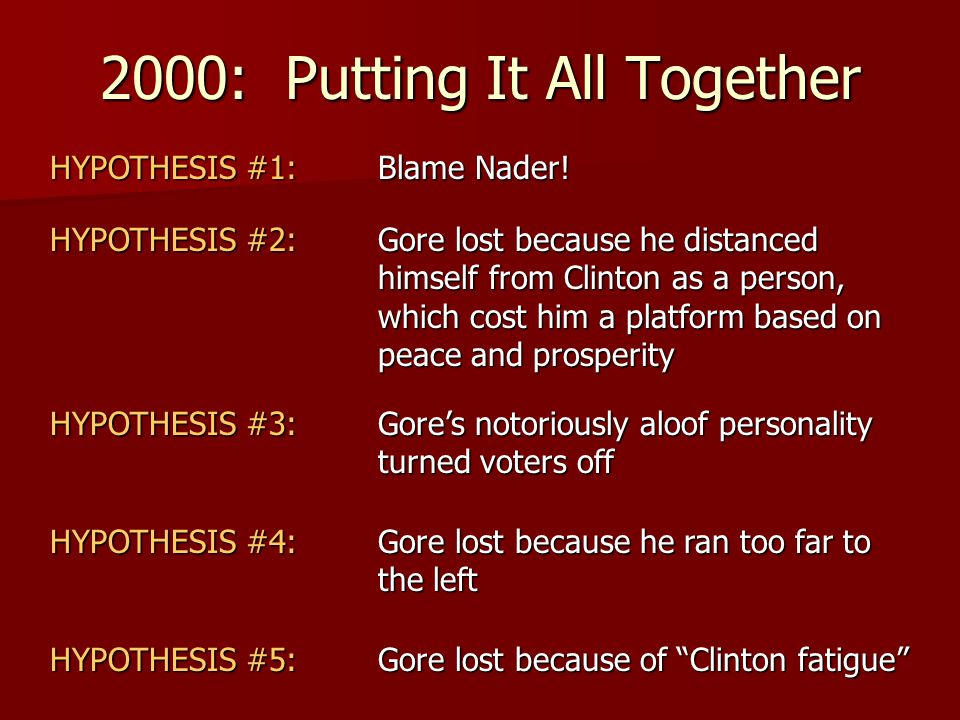 2000: Putting It All Together HYPOTHESIS #1: Blame Nader! HYPOTHESIS #2: Gore lost because he distanced himself from Clinton as a person, which cost h