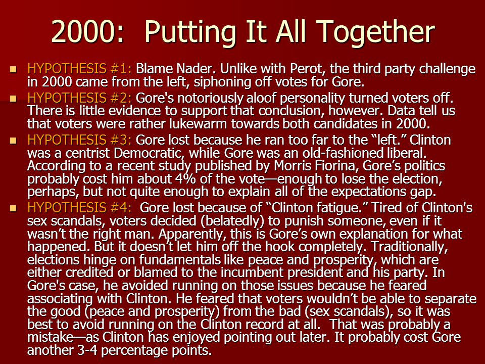 2000: Putting It All Together HYPOTHESIS #1: Blame Nader. Unlike with Perot, the third party challenge in 2000 came from the left, siphoning off votes