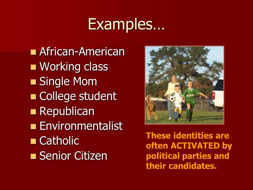 Examples… African-American African-American Working class Working class Single Mom Single Mom College student College student Republican Republican En