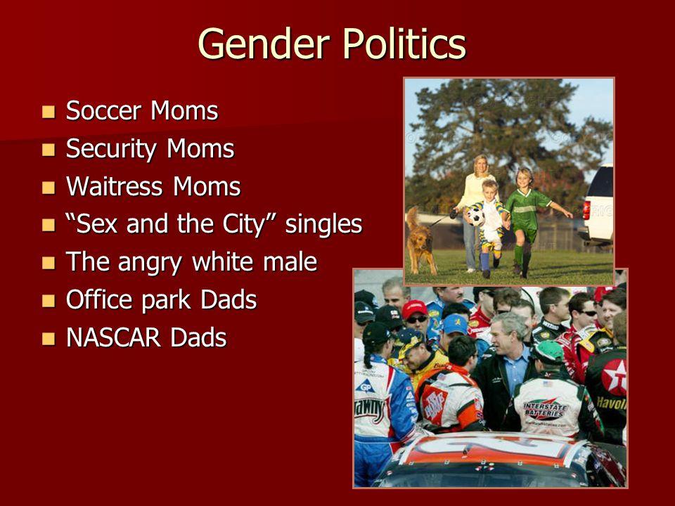 "Gender Politics Soccer Moms Soccer Moms Security Moms Security Moms Waitress Moms Waitress Moms ""Sex and the City"" singles ""Sex and the City"" singles"