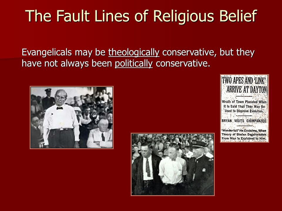 The Fault Lines of Religious Belief Evangelicals may be theologically conservative, but they have not always been politically conservative.