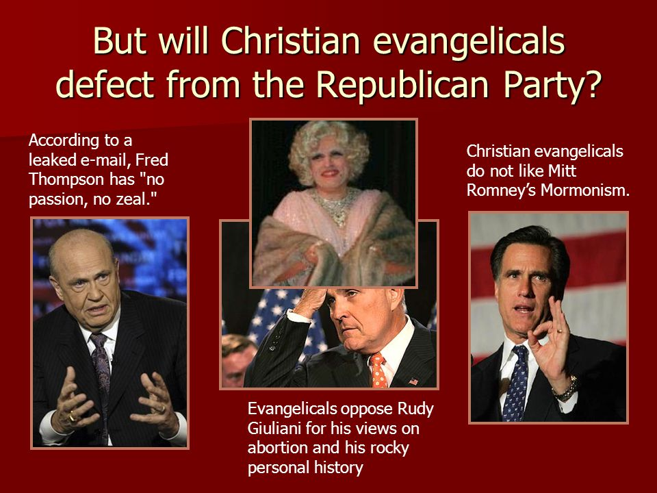 But will Christian evangelicals defect from the Republican Party? According to a leaked e-mail, Fred Thompson has