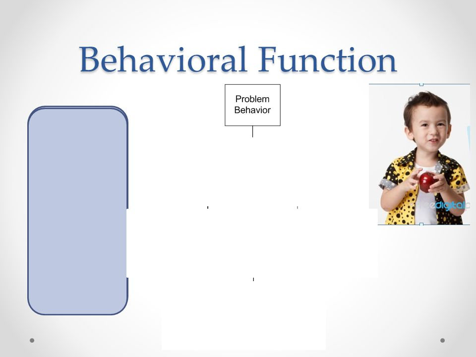 Behavioral Function Revenge Freedom Control Power Social Status Satisfaction Get Toy Smile from Peer Attention from teacher Avoid hard task Access to