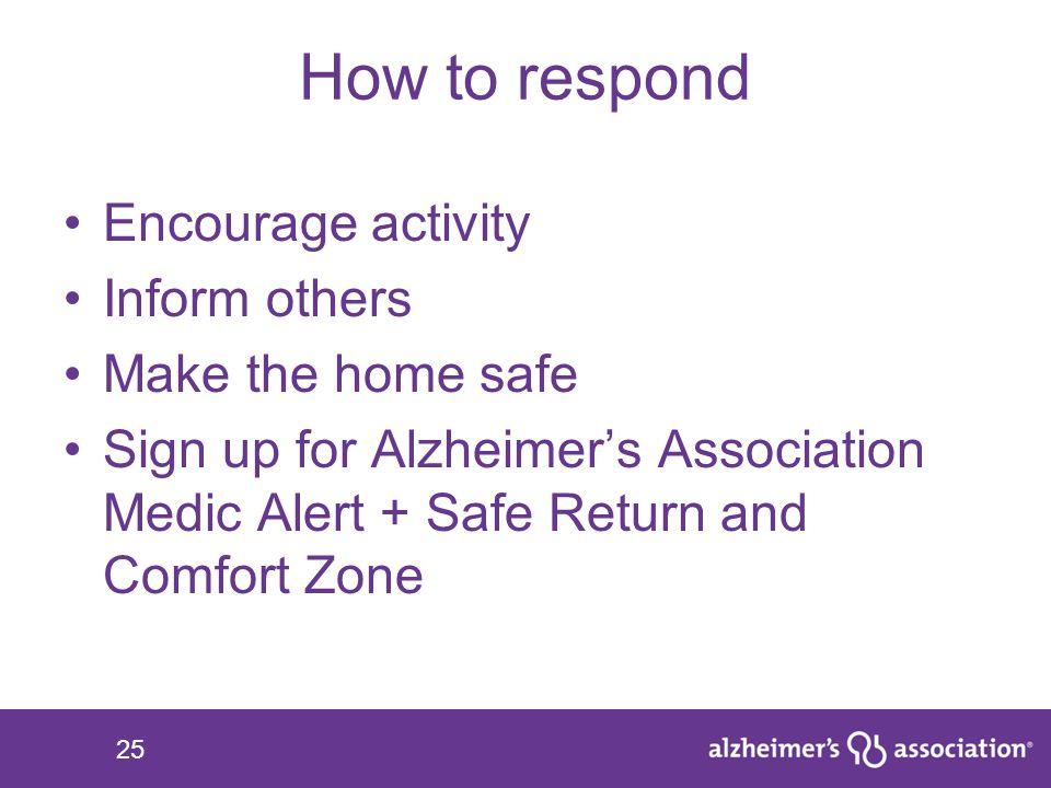 25 How to respond Encourage activity Inform others Make the home safe Sign up for Alzheimer's Association Medic Alert + Safe Return and Comfort Zone