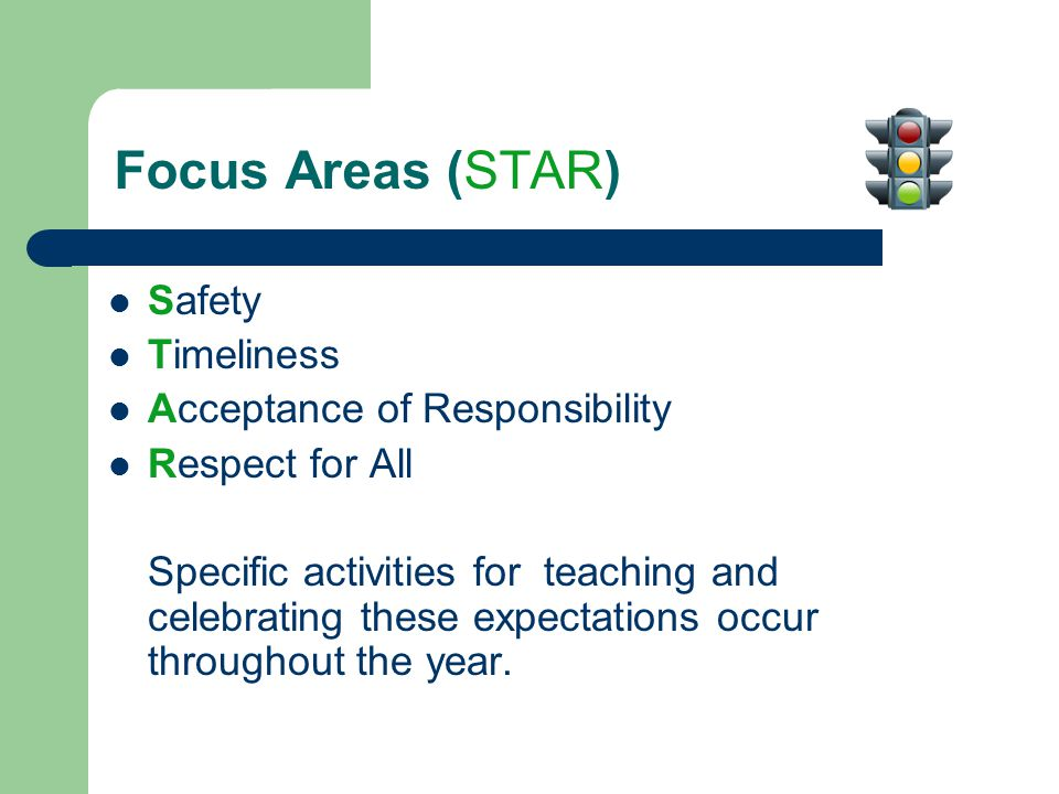 Focus Areas (STAR) Safety Timeliness Acceptance of Responsibility Respect for All Specific activities for teaching and celebrating these expectations occur throughout the year.
