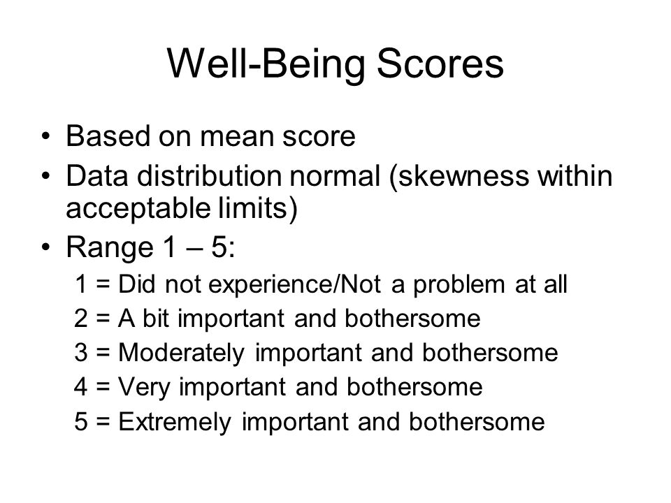 Well-Being Scores Based on mean score Data distribution normal (skewness within acceptable limits) Range 1 – 5: 1 = Did not experience/Not a problem at all 2 = A bit important and bothersome 3 = Moderately important and bothersome 4 = Very important and bothersome 5 = Extremely important and bothersome