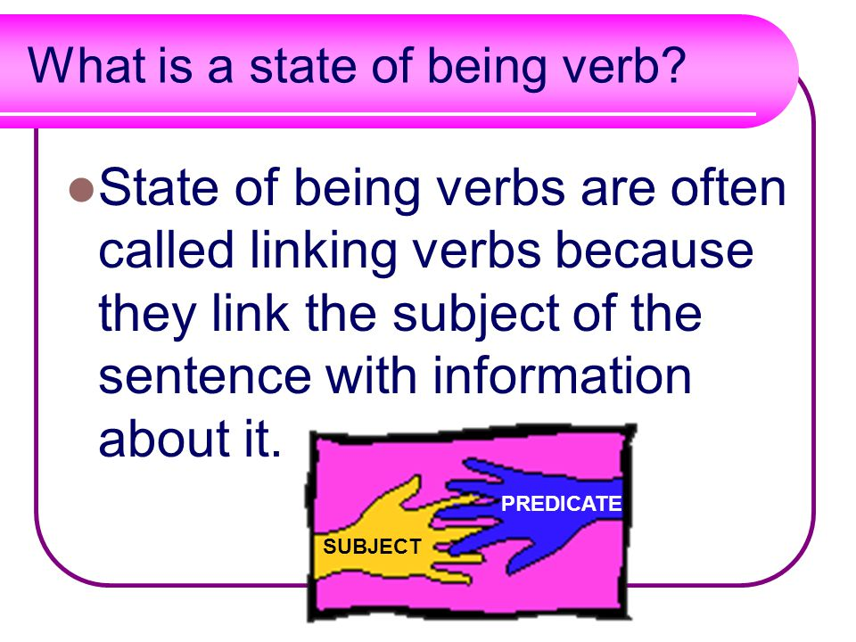 What is a state of being verb.