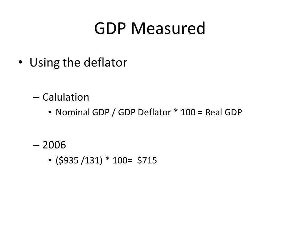 GDP Measured Using the deflator – Calulation Nominal GDP / GDP Deflator * 100 = Real GDP – 2006 ($935 /131) * 100= $715