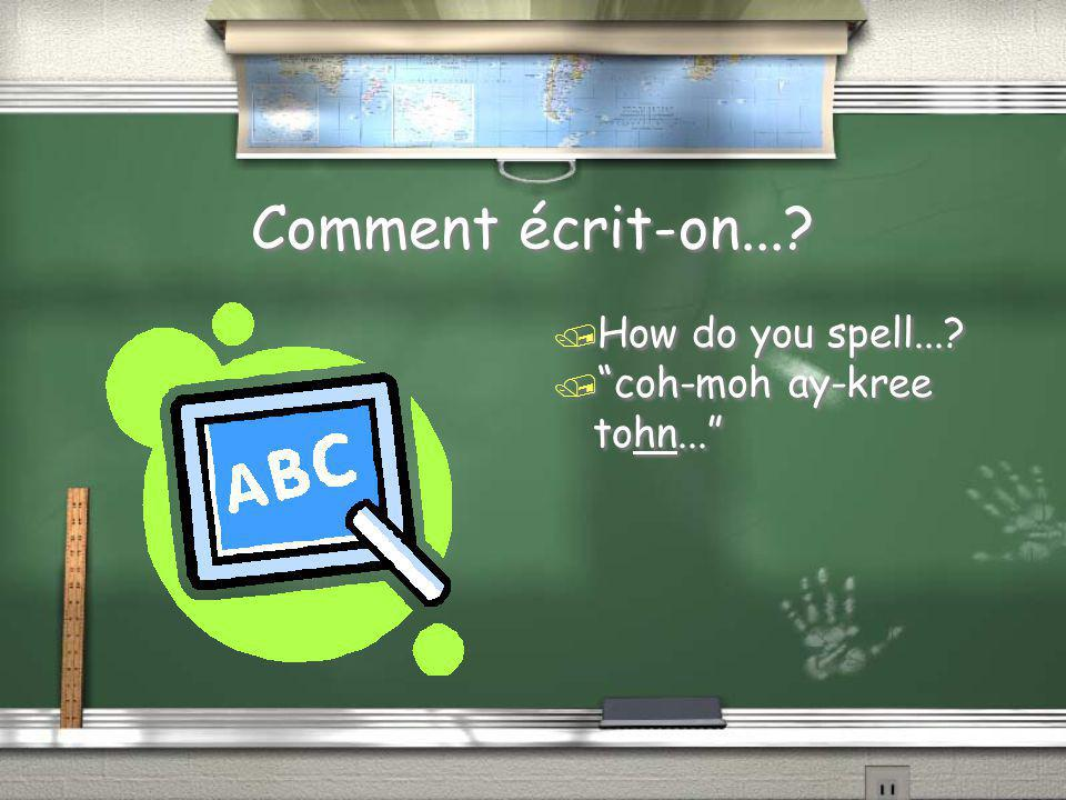 """Comment écrit-on...? / How do you spell...? / """"coh-moh ay-kree tohn..."""""""