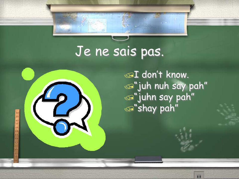 "Je ne sais pas. / I don't know. / ""juh nuh say pah"" / ""juhn say pah"" / ""shay pah"""