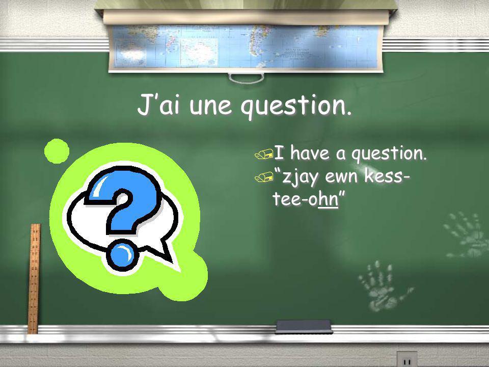 "J'ai une question. / I have a question. / ""zjay ewn kess- tee-ohn"""