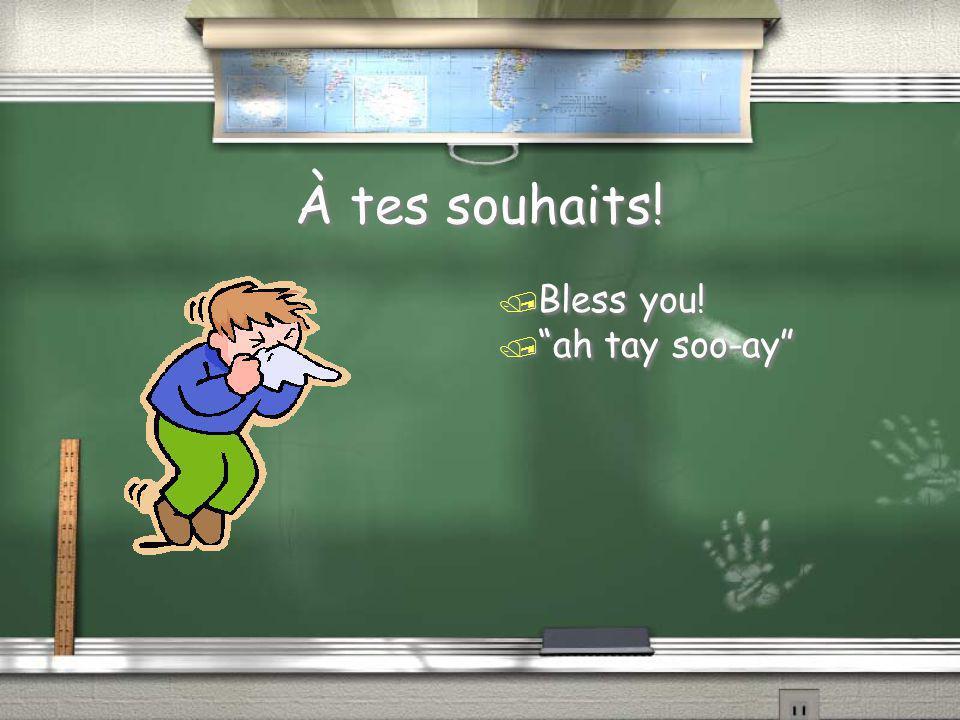 """À tes souhaits! / Bless you! / """"ah tay soo-ay"""""""