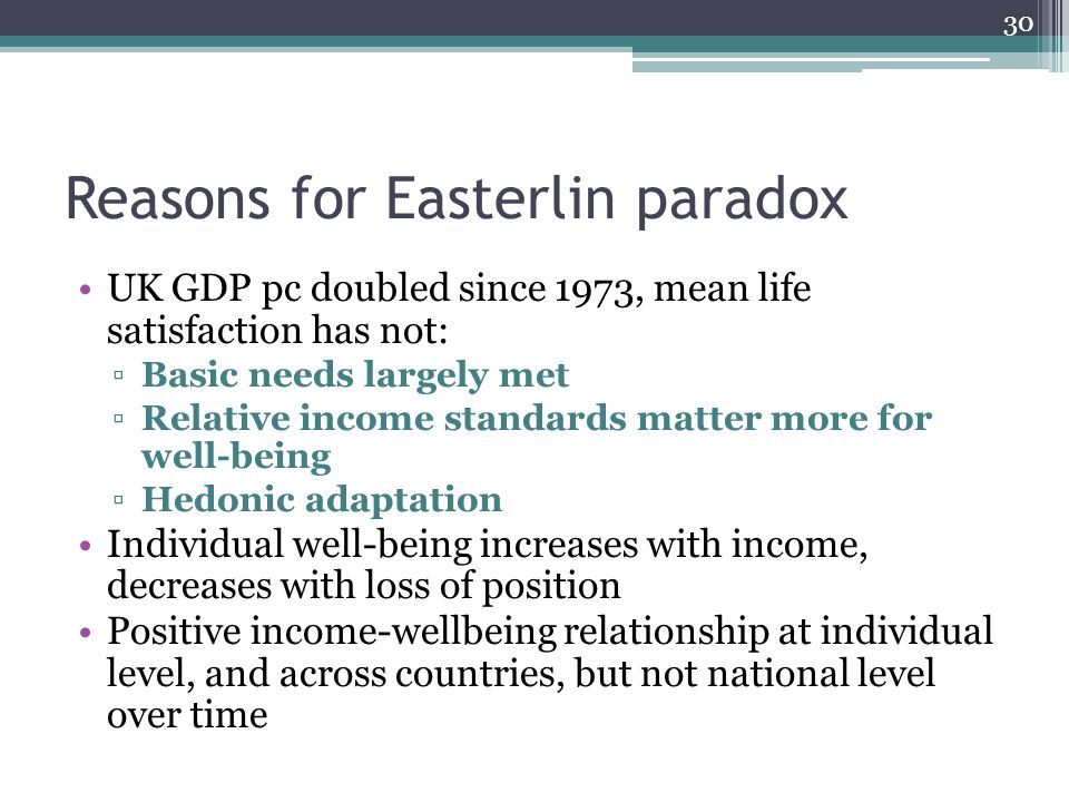 Reasons for Easterlin paradox UK GDP pc doubled since 1973, mean life satisfaction has not: ▫Basic needs largely met ▫Relative income standards matter more for well-being ▫Hedonic adaptation Individual well-being increases with income, decreases with loss of position Positive income-wellbeing relationship at individual level, and across countries, but not national level over time 30